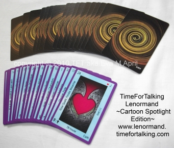 TimeForTalking Lenormand  -  Cartoon Spotlight Edition -  sample cards, front and back