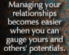 Astrological Interpretations - The synastry report shows that managing your relationships becomes easier when you can gauge your and others' potential. Photo stating these words.