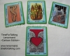 Lenormand Card Decks - TimeForTalking Lenormand - Photo Edition - Cartoon Edition - Cartoon Spotlight Edition, Eva's decks of lenormand cards. Photo of 4 sample cards of the Cartoon Edition.