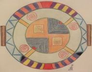 Mandala photo copyright Eva M April, example mandala, follow its lines and concentrate on the colours and shapes during a meditation