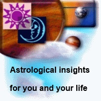Astrological insights for you and your life, background showing clouds with two planets and  Sun and Moon photos.