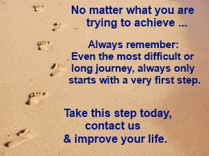 No matter what you are trying to achieve... Always remember ... Even the most difficult or long journey, always only starts with a very first step. Take this step today, contact us and improve your life. Photo with footsteps in the sand.