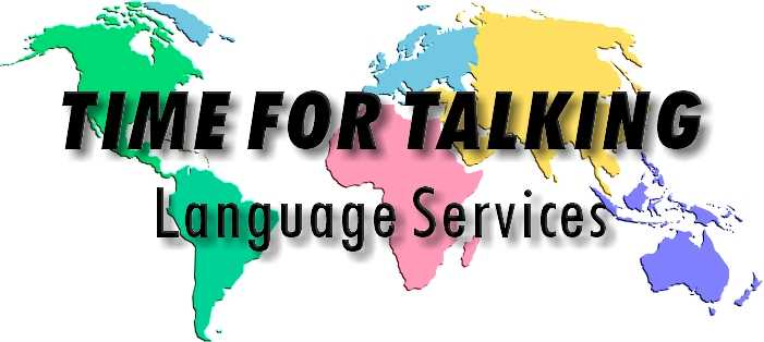 Time For Talking Language Services world map, company logo